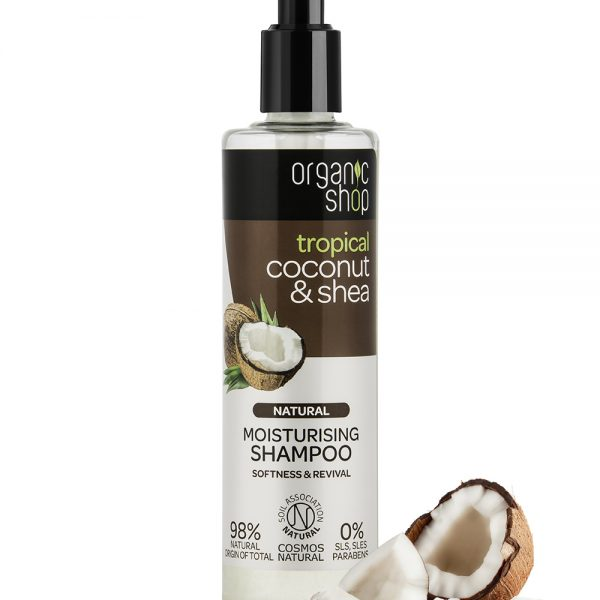 Shampoo idratante al cocco e burro di karitè biologici in confezione dispenser, particolarmente indicato per capelli secchi o danneggiati.