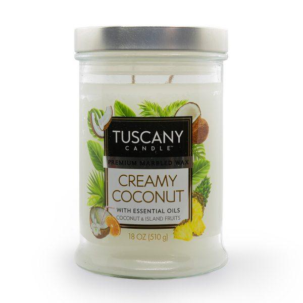 Candela Creamy Coconut latte di cocco e frutti tropicali Tuscany Candle
