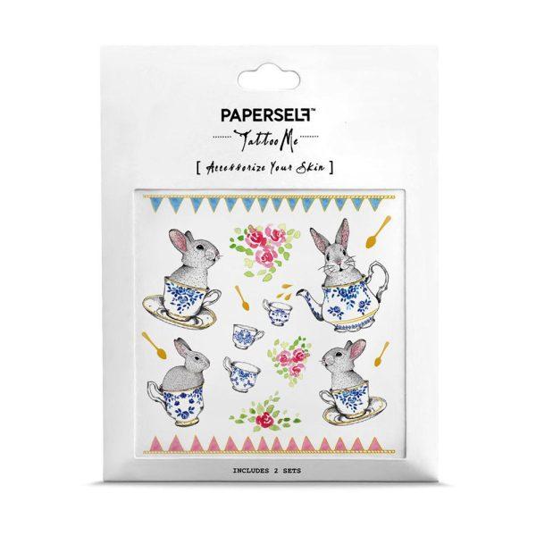 Coniglietti Tea Party Tatuaggi temporanei Paperself