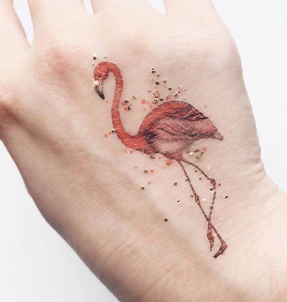 Mini Flamingo Tatuaggio temporaneo con piccoli fenicotteri Paperself